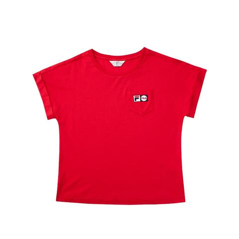 FILA 口袋圓領T恤-紅色 5TEV-1456-RD