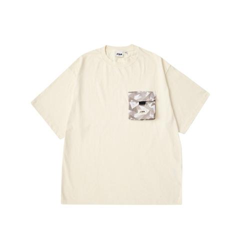 FILA 山系大口袋短袖T恤-奶茶色 1TEV-1205-KK