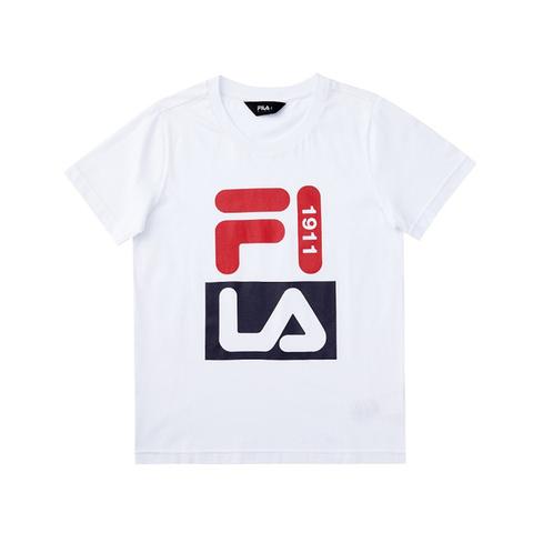 FILA KIDS 圓領上衣-白 1TEV-4901-WT