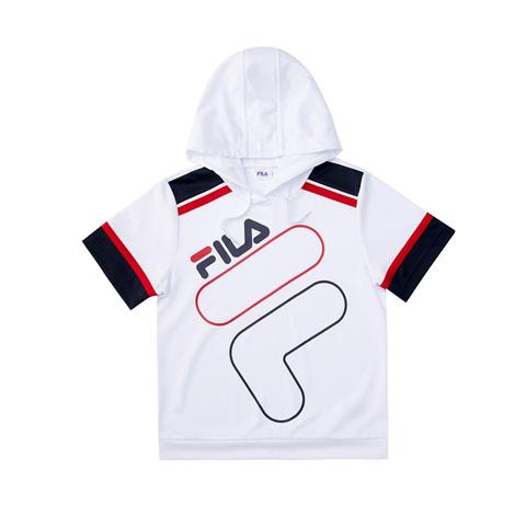 FILA KIDS 吸排連帽上衣-白色 1TEV-4426-WT