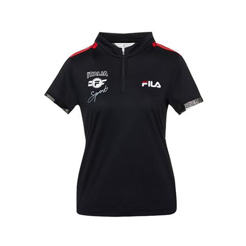 FILA 半門襟T恤-黑色 5TEV-1716-BK
