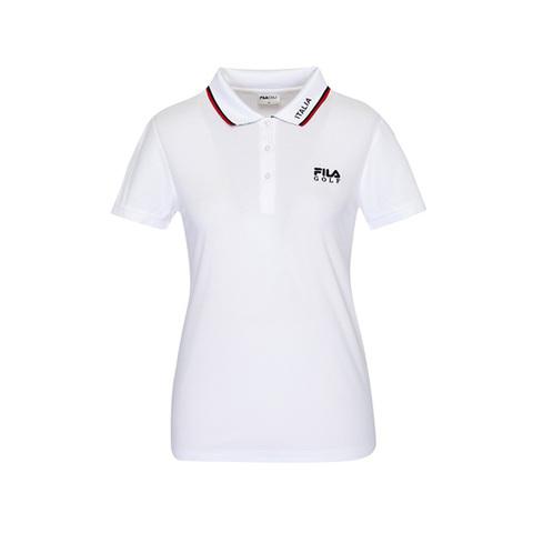 FILA GOLF 短袖吸排透氣POLO衫-白 5POV-2132-WT