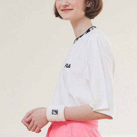 FILA 短袖圓領T恤-牙白色 1TEV-1202-WT
