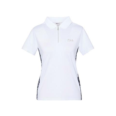 FILA GOLF 短袖吸排透氣POLO衫-白 5POV-2105-WT