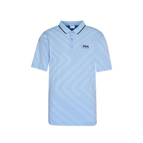 FILA GOLF 短袖吸排透氣POLO衫-水藍 1POV-2005-SB