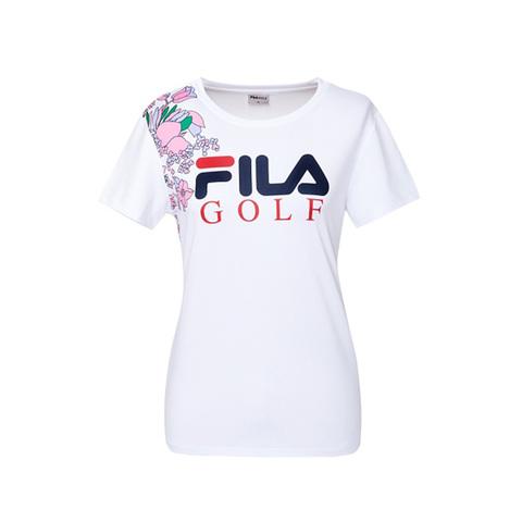 FILA GOLF 吸排透氣圓領T恤-花漾白 5TEV-2106-WT
