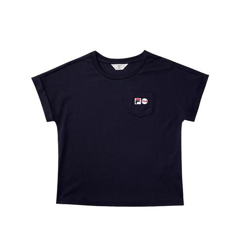 FILA 口袋圓領T恤-丈青 5TEV-1456-NV