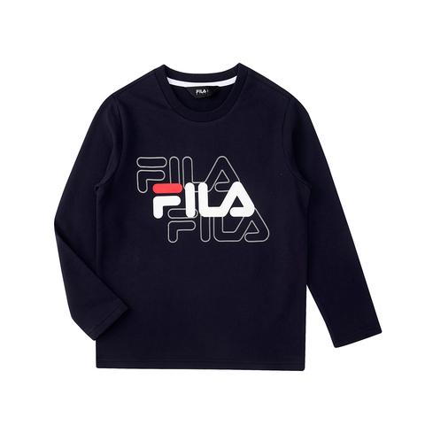 FILA KIDS 圓領上衣-丈青 1TEU-8902-NV