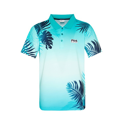 FILA GOLF 涼感短袖POLO衫-藍綠 1POV-2120-TQ