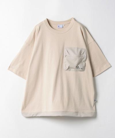 FILA 山系大口袋短袖T恤-奶茶色 1TEV-1823-KK
