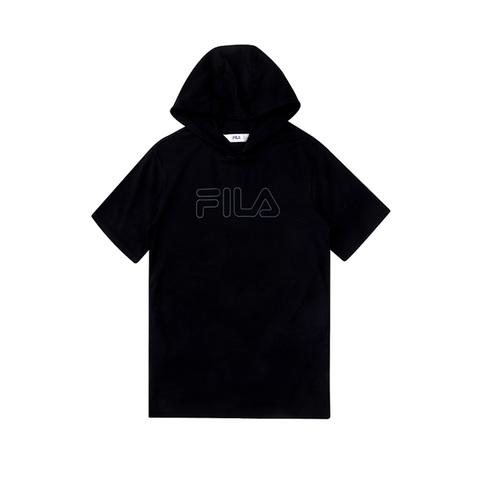 FILA KIDS 長版連帽上衣-黑 5TEV-4505-BK