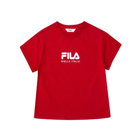 FILA KIDS 圓領上衣-紅 5TEV-4504-RD