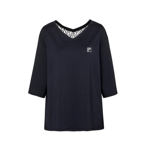 FILA 七分袖T恤-黑色 5TEV-1603-BK