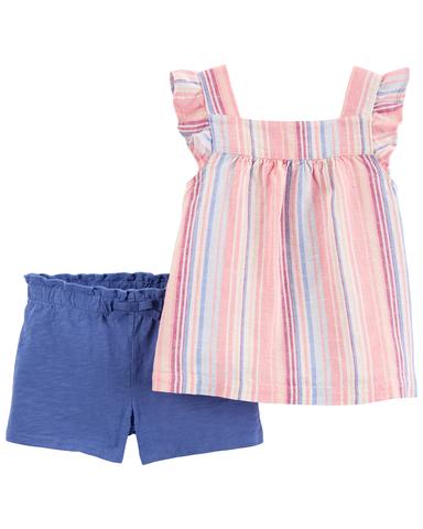 Carter's 春季粉紅條紋2件組套裝(6M-24M)
