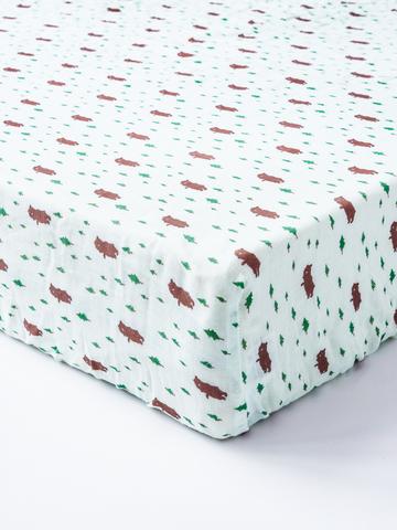 台灣 Organic B 有機比比 嬰兒有機棉紗床包-小熊森林家