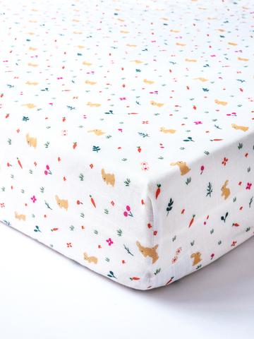 台灣 Organic B 有機比比 嬰兒有機棉紗床包-午後小野兔