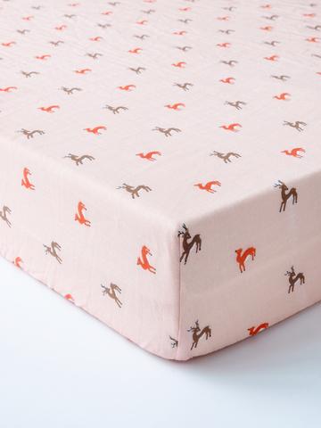 台灣 Organic B 有機比比 嬰兒有機棉紗床包-暖暖鹿奔跑
