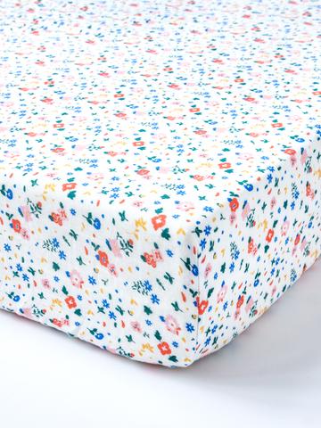 台灣 Organic B 有機比比 嬰兒有機棉紗床包-繽紛花漫漫