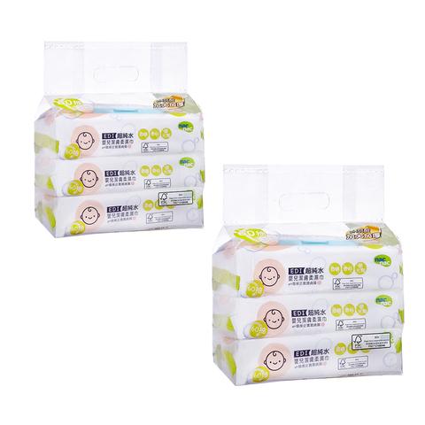 【買1送1】nac nac EDI超純水濕巾(60抽3入包+3濕巾蓋)