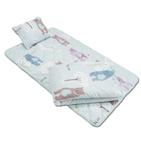 睡袋三件組-藍色大熊熊