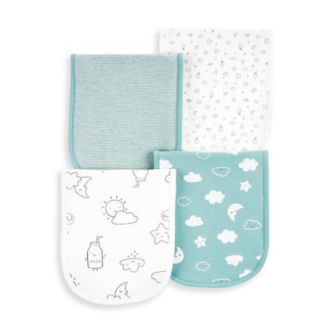 Carter's 台灣總代理 純柔牛奶天空4件組口水巾(OSZ)