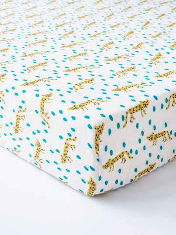 台灣 Organic B 有機比比 嬰兒有機棉紗床包-豹的叢林圓舞