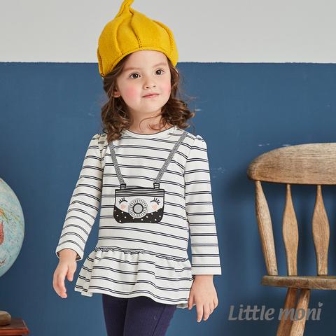 Little moni 荷葉襬相機印圖上衣(白色)