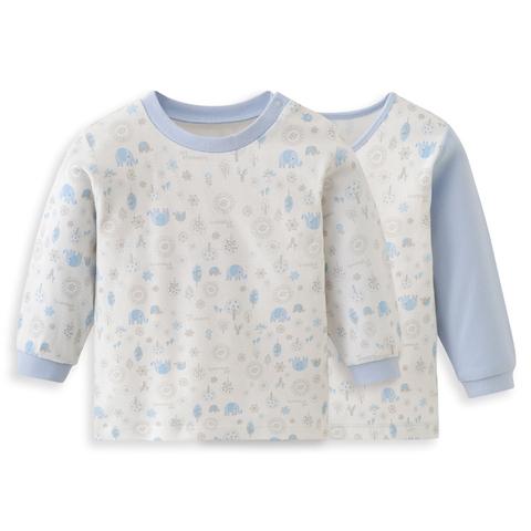 【網路獨家款】les enphants  精梳棉小象森林兩件組上衣-藍色