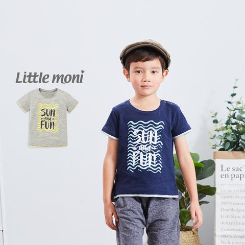 Little moni 拼接印圖TEE(灰色)