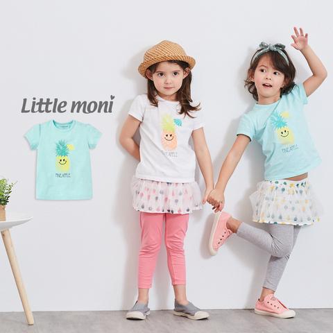 Little moni 鳳梨印圖棉T(淺綠色)