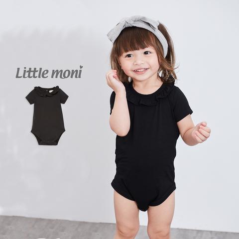 Little moni 素面荷葉領包屁衣(黑色)