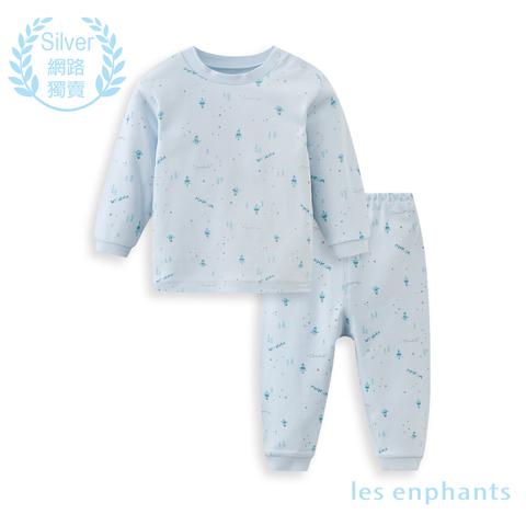 【網路獨家款】les enphants  精梳棉森林半高領套裝-藍色