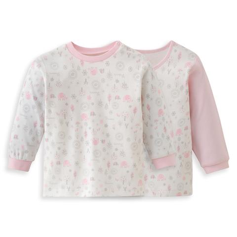 【網路獨家款】les enphants  精梳棉小象森林兩件組上衣-粉色