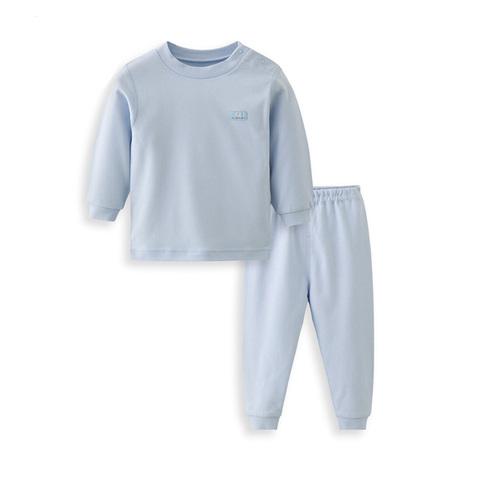 【網路獨家款】les enphants  精梳棉素面半高領套裝-藍色