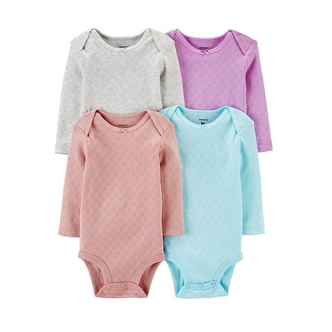 Carter's 台灣總代理 滿版愛心4件組長袖包屁衣(PRE(早產兒)-18M)