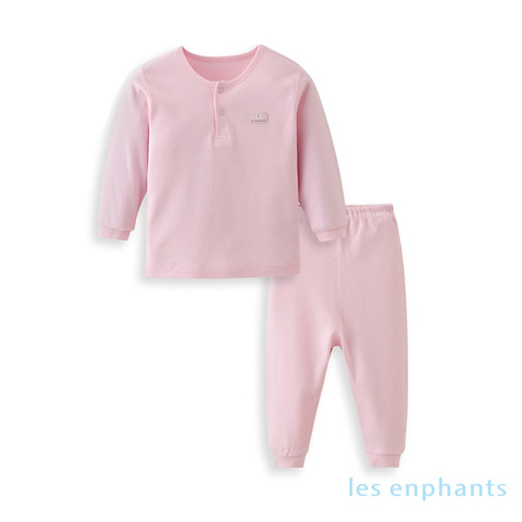 【網路獨家款】les enphants  精梳棉素面兩粒釦套裝-粉色
