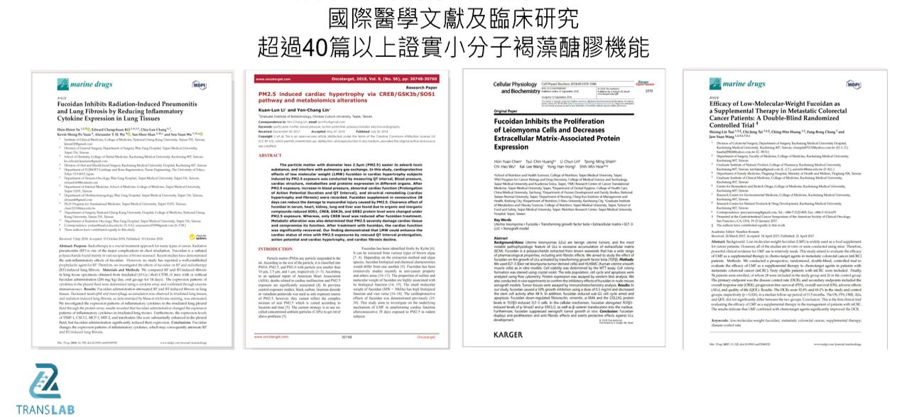 二代小分子褐藻醣膠經科學文獻及臨床實證
