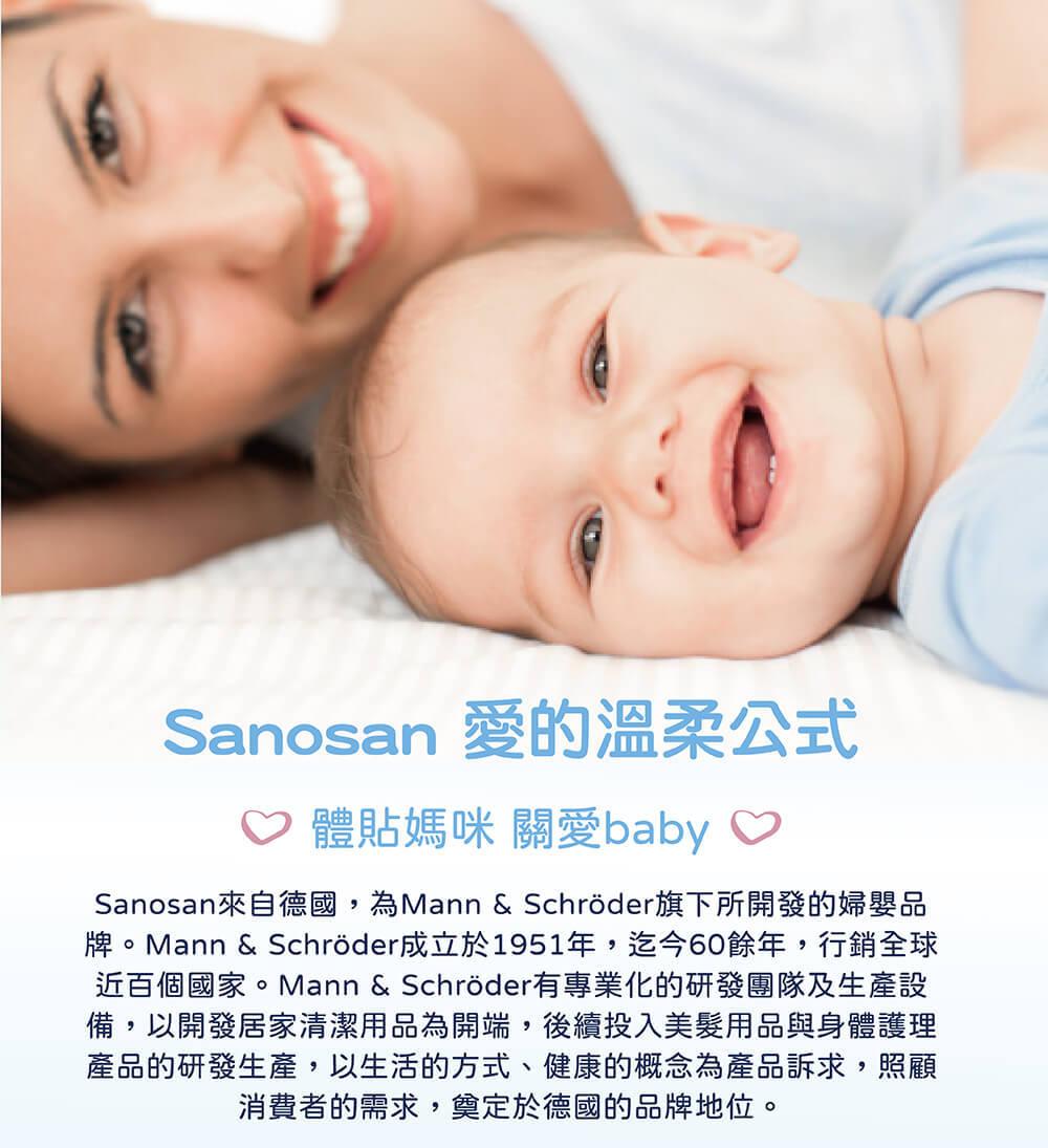 德國珊諾sanosan,經德國醫學測試認證,成分天然,零防腐劑、人工香精提供媽媽寶寶100%德國製造的洗沐保養品,水解乳蛋白明星成分,呵護寶寶稚嫩肌