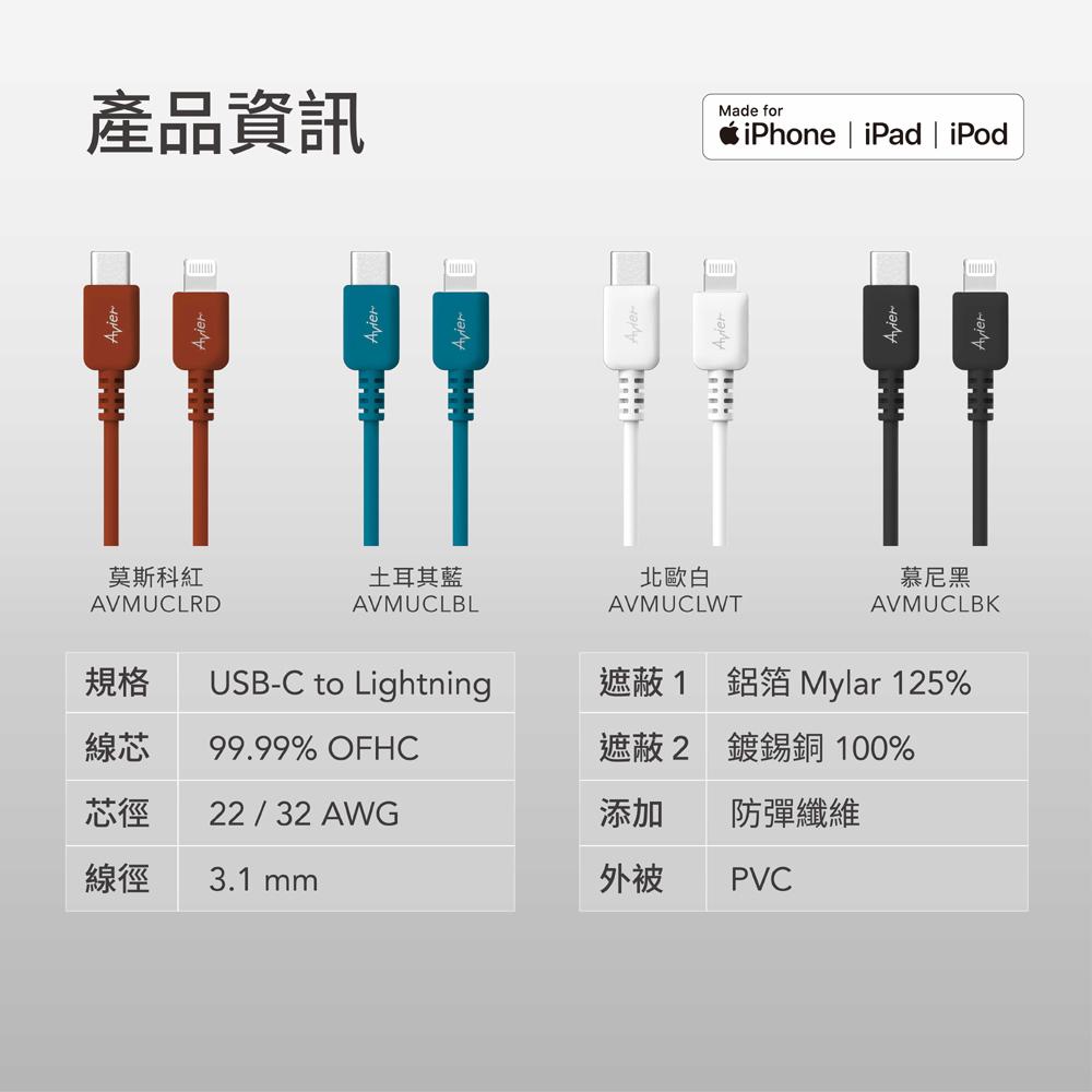 COLOR MIX Type C to lightning 高速充電傳輸線